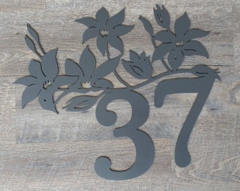 Metal Wall Art, Custom House Sign, House number, Flower, Wall Decor