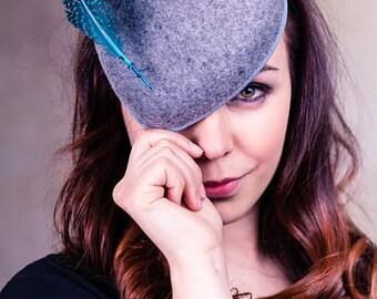 Womens Hat, Women's Fascinator, Mini Hat, Heart Shaped Percher - Kimberley