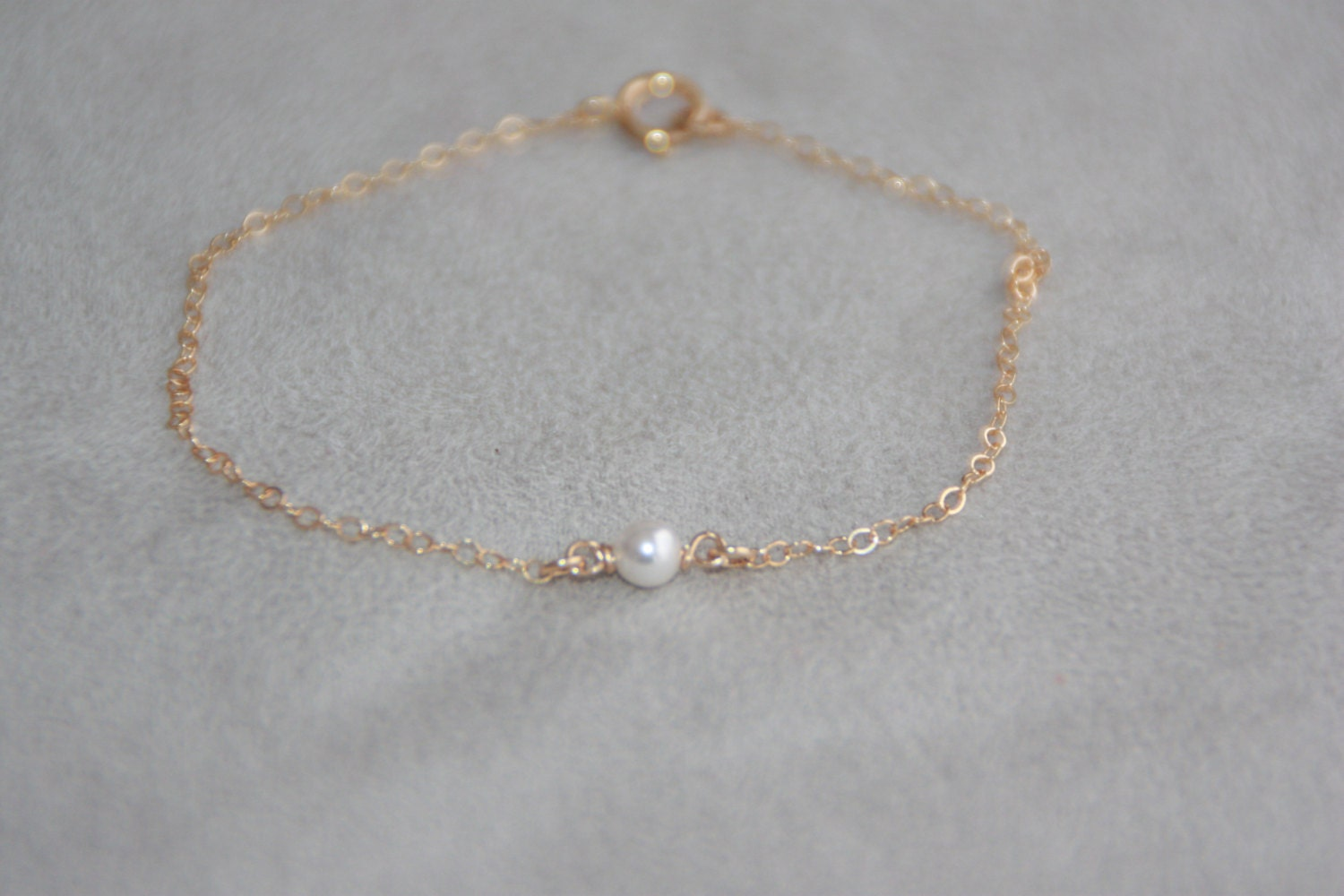 Single Pearl Bracelet 14k Gold Filled Bracelet Tiny Pearl