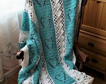 Full Size Crochet Afghan, Crochet Heart Afghan