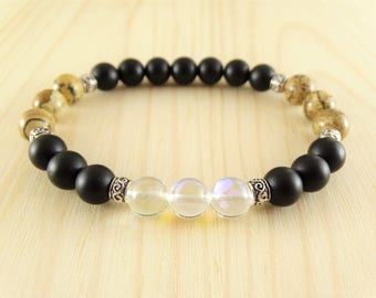 Mens Bracelet - Men Beads Bracelet - Mens Gemstone Bracelet - Mens Jewelry - Mens Gift - Boyfriend Gift - Husband Gift - Stackable Bracelet