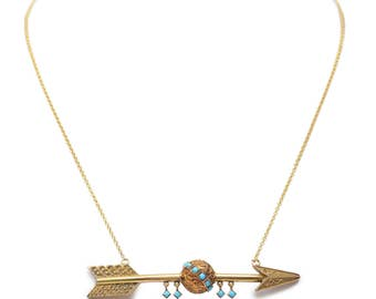 Victorian 14KT Gold and Turquoise Arrow Necklace