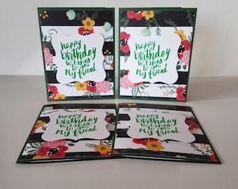 Set of 4 Handmade Birthday Cards, Blank Inside