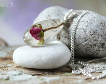 Pink rose resin necklace Floral rosebud necklace Real rose resin necklace Sterling silver necklace pendant Summer jewelry Romantic gift