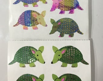 Vintage Rare Pearl and Mylar Armadillo Sandylion Stickers