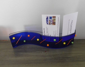 Unique Office Gift, Desk Business Card Holder, Freestanding, Boss, Coworker, Home Decor,  Handmade, Made in USA, Frizy Fused Glass Art