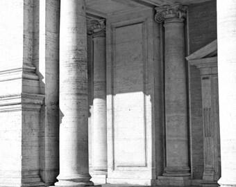 Rome, Italy, black and white photography, Roman architecture, Italy photography, Italian home decor, large wall art, pillars, 16x24