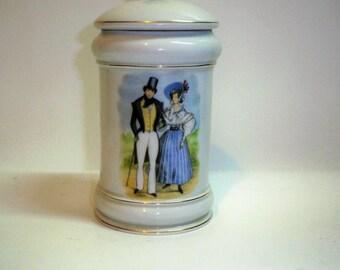 Vintage 1950s Limoges France Porcelain Jar with Lid, 2 pieces Antique Limoges Jars, Collectible Limoges
