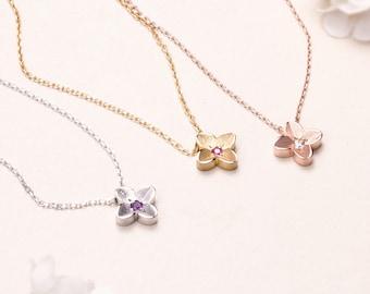 Dainty Flower necklace, Personalized Birthstone Necklace, Sterling silver necklace, Silver flower necklace,  Birthstone Necklace