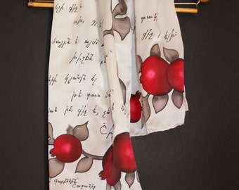 Mother poetry Handpainted silk scarf,Armenian,For Mother,Armenian scarf,Armenian letters,Long scarf,Pomegranate,New year Xmas,Armenian gift,