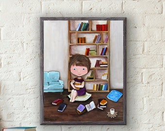Original Librarian print, Best friend gift, Nursery art, Girl Reading art, Book lover Gift for her, Print Wall art, Baby girl Playroom decor