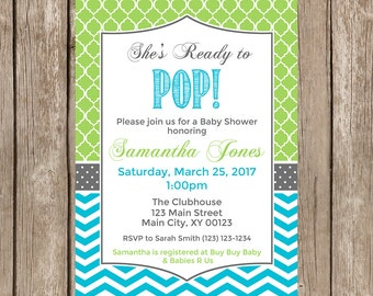 Ready to POP Baby Shower Invitation, Lime Green and Aqua-Digital