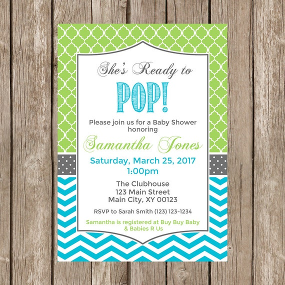 ready to pop baby shower invitation lime green and aqua digital