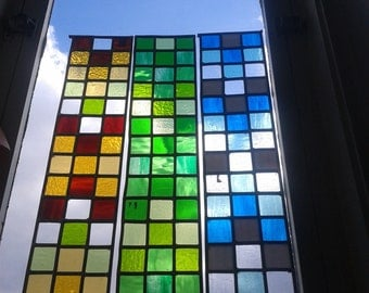 Rectangular Stained Glass Window Panels in 'Cameo' Design