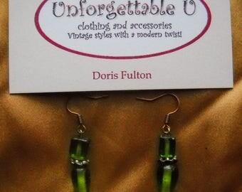 Green dangly earrings, Green Stone Earrings, Elegant Olive Green Earrings, Green Glass Beaded Earrings, Costume Jewelry, Birthday Gift