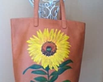CUSTOM-Leather Tote, Hand Painted