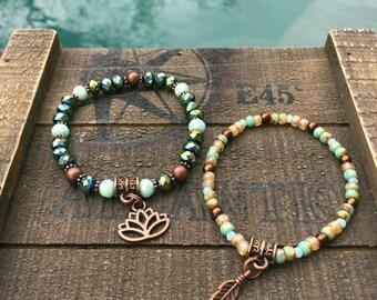 Lotus Flower Set of 2 Czech-glass bracelets, yoga jewelry, bohemian style