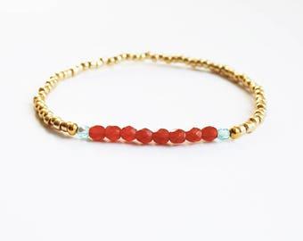 Caramel, Turquoise & Gold Bracelet - Bohemian Jewellery - Boho Jewelry - Summer Bracelet - Friendship Bracelet