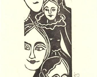 """Friends  -    Linocut Art Card  Card 5x7"""""""
