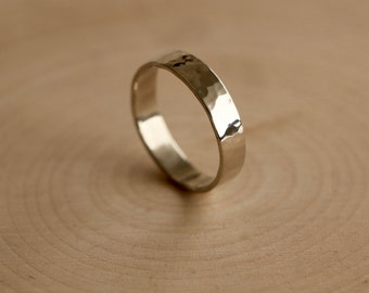 Hammered Sterling Silver Band, Handmade Sterling Silver Ring, Planished Silver Band