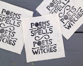 Poems are Spells patch, Witch patch, Wizard patch, Back patch, Magic patch, Poetry patch, Gifts for writers, Gifts for poets