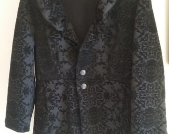 Black velvet flocked brocade women's coat - size XL - ladies jacket with ruffled collar - plus size in stock ready to ship