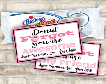 Donut valentines day cards or tags custom made for kids to pass out to friends with treats instant digital file download