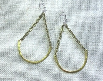 OLIVE and GREEN Hanging U Half Hoop Circle Hammered Metal Handmade Geometric Modern Earrings Gold-tone Unique Boho Hand-made OLIVEandGREEN