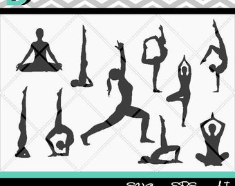Yoga Poses Silhouettes svg,Yoga clipart,Yoga svg,Clipart svg,Art An Collectible,Digital Design,Cut File,DXF,PNG , Cricut Instant Download