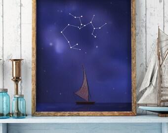 Sagittarius sign, Sagittarius constellation, moana print, moana drawing, sky stars, disney print, zodiac sign, horoscope, printable art, art