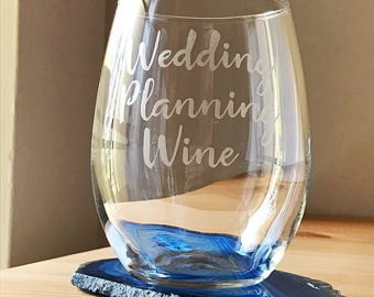 Wedding Planning Wine-Wedding Planning Wine Glass-Engagement Gift-Bride Gift-Stemless Wine Glass