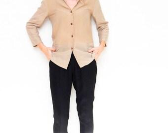 SALE button down blouse   beige shirt   vintage top   women's blouse   size medium