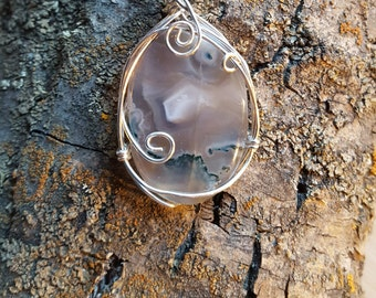 Wire Wrapped Moss Agate Pendant
