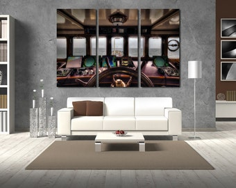 Сaptain's cabin Wall Art Multi Panels Set Ship Wall Art Open Sea Canvas Art Boat Wall Art