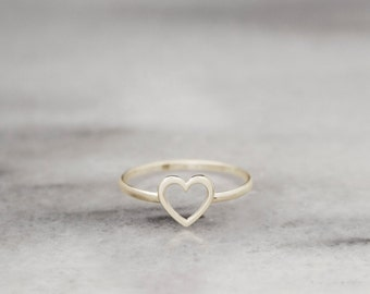 Gold Heart Ring, Heart Ring, 14k Gold Ring, Yellow Gold, Dainty Love Ring, Romantic Jewelry, Gift For Her, Minimal Ring, Girlfriend Gift