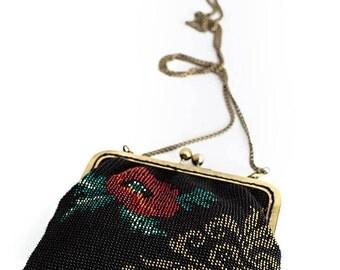 Knit Small Purse / Beaded Purse / Vintage style Purse / Small Purse / Evening Purse