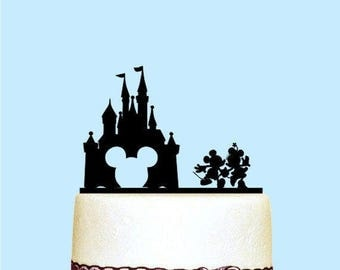 Castle Wedding Cake Topper, Mickey and Minnie Wedding Cake Topper, Disney Cake Topper, Wooden Wedding Decorations, Wedding Cake Toppers