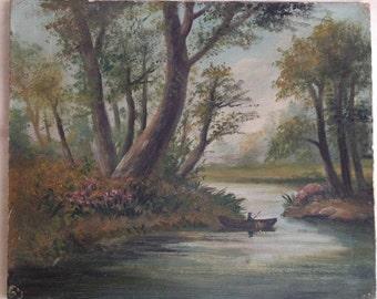 1920s original French oil painting landscape signed river boat antique original