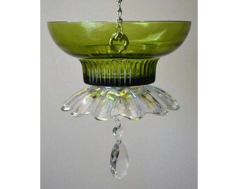 Bird feeder: Vintage Glass FREE SHIPPING