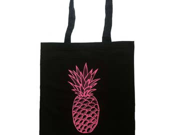 Pineapple tote bag - Pineapple bag - Cotton canvas tote bag - neon pink - canvas totes - screen printed bag