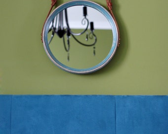 "Modern Mirror ""Gent"" / Round Mirror / Wall Mirror / Leather Strap Mirror / Circle Mirror / Wooden Mirror / Scandinavian Style Mirror"