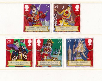 1992 Gilbert and Sullivan Mint Unused Vintage Postage Stamps set; theatre, Gondoliers, Pirates of Penzance, theatre, acting, actor, opera