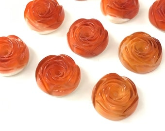 Gorgeous Vintage Glass Rose Flower Cabochons 20mm