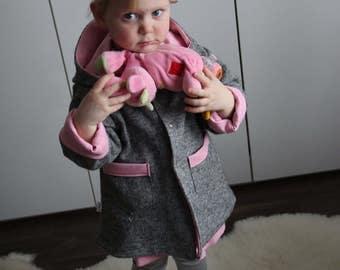 Baby Girl Coat/ Girl Spring Jacket / Gray Baby Jacket / Pink Baby Coat/ Unique Sewing Girl Jacket / Children Jacket / Toddler Jacket