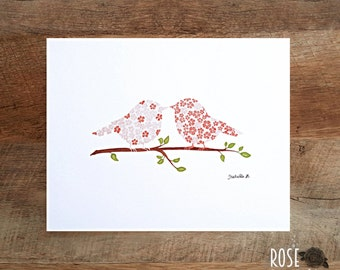 Poster 8x10, romantic birds, kiss, flowers
