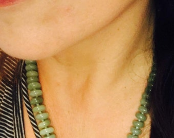 """Necklace, Green Aventurine Rondells, Knotted Between Each Bead, 22 1/4""""."""