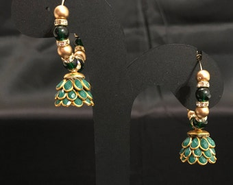 Dark Green Jhumki Earrings - Indian Jewelry - India Earrings - Pakistani Bridal - Pakistani Jewelry - Indian Bridal - Desi Jewelry - Jhumka