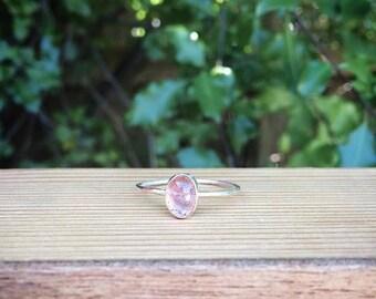 Light Pink Tourmaline Ring / Sterling Silver Ring Size 9 / Silver Tourmaline Stack Ring / Stackable Ring / Oval Pink Tourmaline