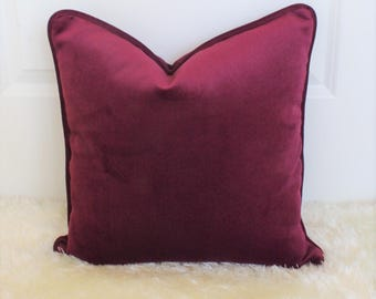 Merlot Plum Raspberry Decorative Throw Pillow Cover with piping, Accent Pillow, Sofa Cushion, Velvet, Suede, Turkish Luxe Fabric