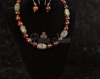 Orange jade necklace set